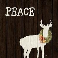Wooden Deer with Wreath II Fine-Art Print