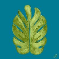 Leaf On Teal I Fine-Art Print