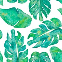 Aqua Leaves On White Fine-Art Print