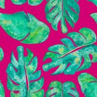 Aqua Leaves On Pink Fine-Art Print