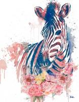 Floral Watercolor Zebra Fine-Art Print