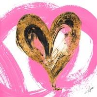 Pink & Gold Heart Strokes I Fine-Art Print