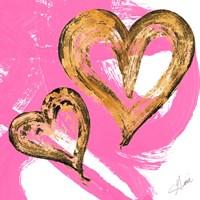 Pink & Gold Heart Strokes II Fine-Art Print