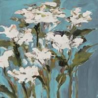 Wild Flowers on Blue I Fine-Art Print