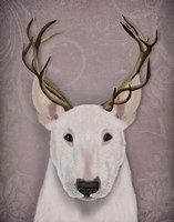 Bull Terrier and Antlers Fine-Art Print