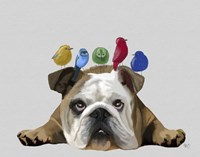 English Bulldog and Birds Fine-Art Print