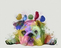English Bulldog and Birds, Rainbow Splash Fine-Art Print