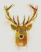 Deer Head 1 Rainbow Splash Red and Gold Fine-Art Print