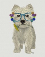 West Highland Terrier Flower Glasses Fine-Art Print