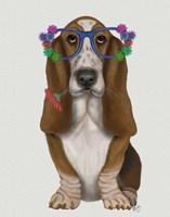 Basset Hound Flower Glasses Fine-Art Print