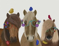 Horse Trio with Flower Glasses Fine-Art Print