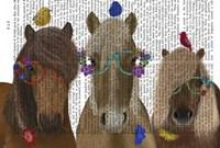 Horse Trio with Flower Glasses Fine-Art Print