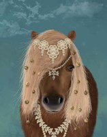 Horse Brown Pony with Bells, Portrait Fine-Art Print