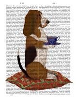 Basset Hound Taking Tea Fine-Art Print