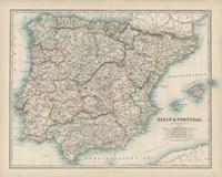 Map of Spain & Portugal Fine-Art Print