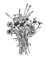 Black & White Bouquet I Fine-Art Print