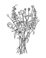 Black & White Bouquet III Fine-Art Print