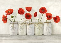 Red Poppies in Mason Jars Fine-Art Print