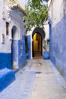 Morocco, Chaouen Narrow Street Lined With Blue Buildings Fine-Art Print