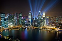 Singapore Downtown Overview At Night Fine-Art Print