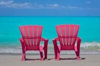 Bahamas, Little Exuma Island Pink Chairs On Beach Fine-Art Print