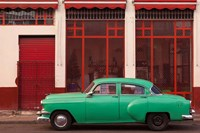 Cuba, Havana Green Car, Red Building On The Streets Fine-Art Print