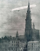 WORLD WAR I (1914-1918) First German Zeppelin Over Antwerp Fine-Art Print