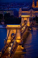Hungary, Budapest Chain Bridge Lit At Night Fine-Art Print
