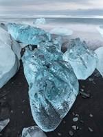 Icebergs On Black Volcanic Beach Vatnajokull, Iceland Fine-Art Print