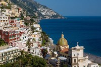 View Along The Amalfi Coast Of The Hillside Town Of Positano, Campania Italy Fine-Art Print