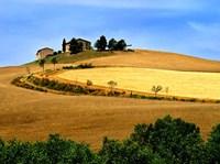 Italy, Tuscany, Farmhouse And Fields Fine-Art Print