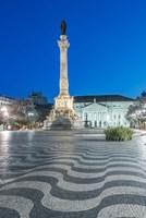 Portugal, Lisbon, Rossio Square At Dawn Fine-Art Print