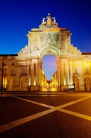 Portugal, Lisbon, Rua Augusta, Commerce Square With The Night Lights Of The City Fine-Art Print