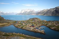 Greenland, Kujalleq, Aappilattoq, View Of Village With Scenic Mountains And Water Fine-Art Print