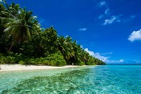 White Sand Beach In Turquoise Water In The Ant Atoll, Micronesia Fine-Art Print