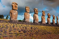 Easter Island, Chile A Row Of Moai Statues Fine-Art Print