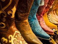 Arizona, Old Scottsdale, Line Up Of New Cowboy Boots Fine-Art Print