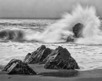 California, Garrapata Beach, Crashing Surf (BW) Fine-Art Print