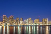 Waikiki Skyline At Night, Honolulu, Hawaii Fine-Art Print