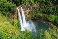 Rainbow In Wailua Falls, Kauai, Hawaii Fine-Art Print