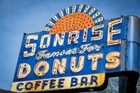 Vintage Neon Sign For Sunrise Donuts Fine-Art Print
