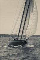 Single Schooner In Cape Ann, Massachusetts (BW) Fine-Art Print