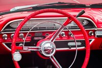 Classic Red Steering Whell At An Antique Car Show Fine-Art Print