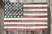 Worn Wooden American Flag, Fire Island, New York Fine-Art Print