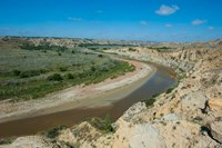 Brown River Bend In The Roosevelt National Park, North Dakota Fine-Art Print