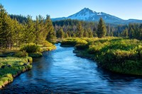 Mt Bachelor And The Deschutes River, Oregon Fine-Art Print