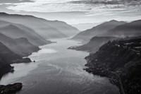 Aerial Landscape Of The Columbia Gorge, Oregon (BW) Fine-Art Print
