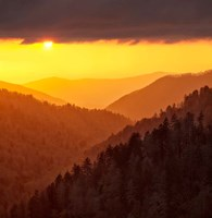 Sunset Light Fills Valley Of The Great Smoky Mountains Fine-Art Print