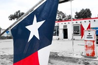 Flag At An Antique Gas Station, Texas Fine-Art Print