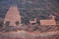 Ancient Petroglyph Of Owl And Big Horn Sheep, Utah Fine-Art Print